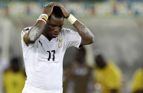 Ghana's Mubarak Wakaso reacts after  a teammate missed a penalty kick during their African Cup of Nations final soccer match against Ivory Coast in Bata, Equatorial Guinea, Sunday, Feb. 8, 2015. (AP Photo/Themba Hadebe)