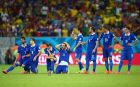 RECIFE, BRAZIL - JUNE 29:  (L-R) Giorgos Samaras, Sokratis Papastathopoulos, Vasilis Torosidis, Konstantinos Katsouranis, Giorgos Karagounis, Theofanis Gekas,Jose Cholevas and Lazaros Christodoulopoulos of Greece look on during a penalty shootout during the 2014 FIFA World Cup Brazil Round of 16 match between Costa Rica and Greece at Arena Pernambuco on June 29, 2014 in Recife, Brazil.  (Photo by Ian Walton/Getty Images)