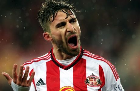Sunderland's Fabio Borini during the English Premier League soccer match between Sunderland and Watford at the Stadium of Light, Sunderland, England, Saturday, Dec. 12, 2015. (AP Photo/Scott Heppell)
