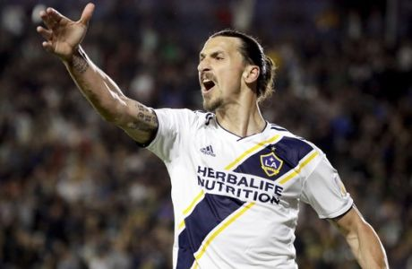 LA Galaxy forward Zlatan Ibrahimovic reacts after his goal was disallowed during the second half of an MLS soccer match against the New York Red Bulls, Saturday, April 28, 2018, in Carson, Calif. The Red Bulls won 3-2. (AP Photo/Chris Carlson)