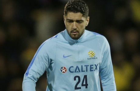 Australia's Dimitrios Petratos during a friendly soccer match between Colombia and Australia in London, Tuesday, March 27, 2018. (AP Photo/Tim Ireland)