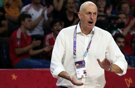 Hungary's coach Stojan Ivkovic gives instructions to his players during their Eurobasket European Basketball Championship round of 16 match against Serbia, in Istanbul, Sunday, Sept. 10. 2017. (AP Photo/Lefteris Pitarakis)