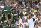 Goran Ivanisevic disputes a point with umpire Andreas Egli during his men's singles semifinal against Tim Henman on the Centre Court at Wimbledon, Saturday, July 7, 2001.  (AP Photo/Adam Butler)