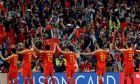 Παίκτες της εθνικής Κίνας πανηγυρίζουν έπειτα από τη νίκη επί της Ταϊλάνδης για τη φάση των 16 του Κυπέλλου Ασίας 2019 στο 'Χαζά Μπιν Ζαγέντ', Αλ Αΐν | Κυριακή 20 Ιανουαρίου 2019