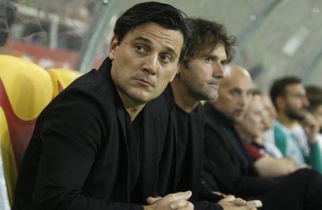Milan's head coach Vincenzo Montella looks on prior to their Europa League Playoff, second leg, soccer match against Shkendija, at Philip II Arena in Skopje, Macedonia, Thursday, Aug. 24, 2017. (AP Photo/Boris Grdanoski)