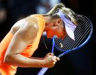 Russia's Maria Sharapova reacts after winning 7-5, 6-3 against Italy's Roberta Vinci at the Porsche Tennis Grand Prix in Stuttgart, Germany, Wednesday, April 26, 2017. It was Sharapova's first match after a 15 months lasting doping ban. (AP Photo/Michael Probst)