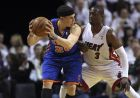 New York Knicks' Mike Bibby (2) looks to pass as Miami Heat's Dwyane Wade (3) defends in the first half during an NBA basketball game in the first round of the Eastern Conference playoffs in Miami, Monday, April 30, 2012. (AP Photo/Lynne Sladky)