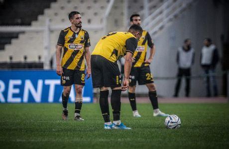 Οι παίκτες της ΑΕΚ σε στιγμιότυπο του αγώνα με τον Παναθηναϊκό για τη Super League 1 2019-2020 στο Ολυμπιακό Στάδιο, Κυριακή 10 Νοεμβρίου 2019