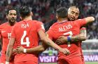 Chile's Alexis Sanchez, second from right, is hugged by his teammate Arturo Vidal after scoring the opening goal during the Confederations Cup, Group B soccer match between Germany and Chile, at the Kazan Arena, Russia, Thursday, June 22, 2017. (AP Photo/Martin Meissner)