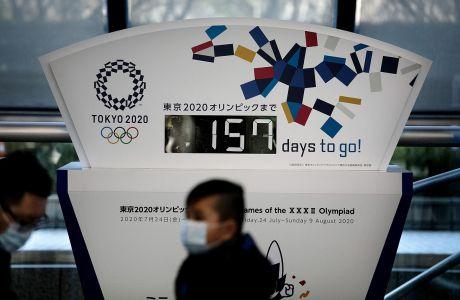 Το ρολόι της αντίστροφης μέτρησης για τους Ολυμπιακούς Αγώνες 2020 που βρίσκεται στο Τόκιο, Τετάρτη 18 Φεβρουαρίου 2020