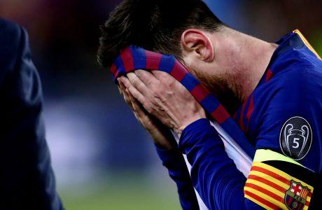 Ο Λιονέλ Μέσι της Μπαρτσελόνα σε στιγμιότυπο του αγώνα με τη Λίβερπουλ στον 1ο ημιτελικό του Champions League 2018-2019 στο 'Καμπ Νόου', Βαρκελώνη, Τετάρτη 1 Μαΐου 2019