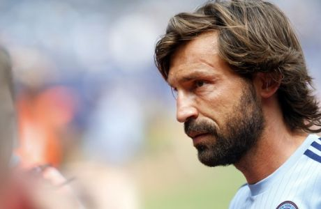New York City FC's Andrea Pirlo, of Italy, walks off the pitch after warming up before an MLS soccer game against Orlando City SC at Yankee Stadium, Sunday, July 26, 2015, in New York. New York defeated Orlando 5-3. (AP Photo/Jason DeCrow)