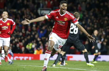 Uniteds Marcus Rashford celebrates after scoring during the Europa League round of 32 second leg soccer match between Manchester United and FC Midtjylland in Manchester, England, Thursday, Feb. 25, 2016 . (AP Photo/Jon Super)