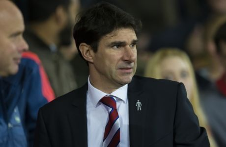 Middlesbrough manager Aitor Karanka during their English League Cup soccer match berween Manchester United and Middlesbrough at Old Trafford Stadium, Manchester, England, Wednesday Oct. 28, 2015. (AP Photo/Jon Super)