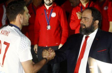ΦΙΕΣΤΑ ΤΟΥ ΟΛΥΜΠΙΑΚΟΥ ΓΙΑ ΤΗΝ ΚΑΤΑΚΤΗΣΗ ΤΟΥ 44ου ΠΡΩΤΑΘΛΗΜΑΤΟΣ (ΘΑΝΑΣΗΣ ΔΗΜΟΠΟΥΛΟΣ / Eurokinissi Sports)