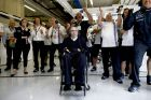 Red Bull Ring, Spielberg, Austria. Saturday 21 June 2014. Sir Frank Williams, Team Principal, Williams F1, and the Williams team watch the monitors as the drivers lock out the front row. World Copyright: Glenn Dunbar/LAT Photographic. ref: Digital Image _W2Q0415 -------------------- Glenn Dunbar / Williams 2014 FIA Formula One World Championship Austrian Grand Prix 21 June 2014 ©2014 Glenn Dunbar / Williams all rights reserved
